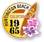 Huntington Beach 1965 Surfer Surfing Design Vinyl Car sticker decal  95x98mm